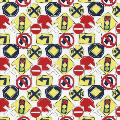 Witte stof met rode gele en blauwe verkeersborden.