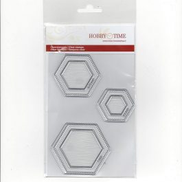 Transparante Quiltstempels CRP0031 (Clear Stamps) Hexagon in 3 maten. Kleine 0,5 inch, Middel 0,75 inch, Groot 1 inch.