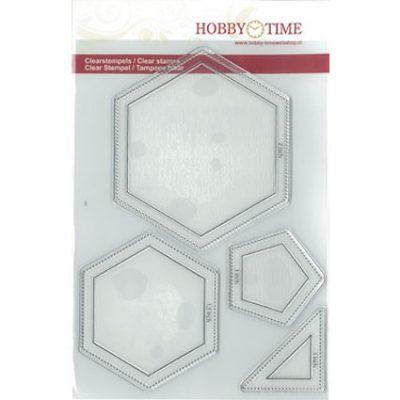 Transparante Quiltstempels op A5 formaat CRP0044 Grote Hexagon van 2 inch, een Hexagon van 1,5 inch, een Pentagon van 1 inch en een halve square (halve vierkant) van 1 inch.