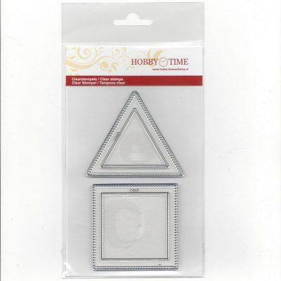 Transparante Quiltstempels CRP0030 Een Square (vierkant) van 2 inch en een Triangel van 2 inch o.a te gebruiken voor het maken van huisjes en dak.