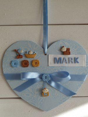 Zelf maak pakketje Lief baby hart blauw +/- 20 cm.