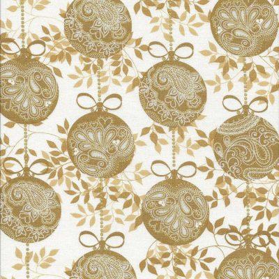 Ivoor witte stof met gouden kerstballen.