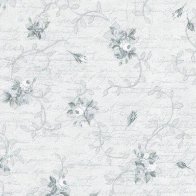 Lichtgrijze stof met grijze roosjes en takjes.