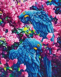Diamond Dotz Blue Parrots Design Size 52 x 42cm
