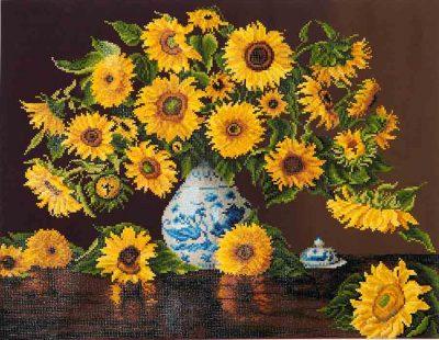 Diamond Dotz Sunflower in China Vase Design Size 71,12 x 55,9cm