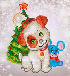 Diamond Dotz Chrismas Pup & Mouse Design Size 23 x 25cm