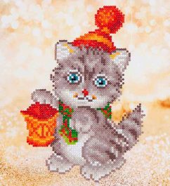 Diamond Dotz Christmas Kitten Glow Design Size 23 x 25cm