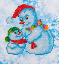 Diamond Dotz Snow Family Design Size 23 x 25cm