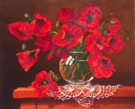 Diamond Dotz Red Poppies Design Size 50,8 x 40,6cm