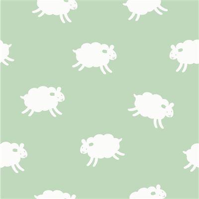 Lilian Z Katoenen stof mintgroen met witte schaapjes