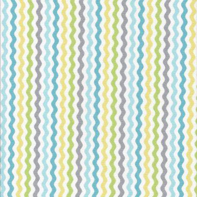 Groen grijs geel aqua gegolfd streepjes stof