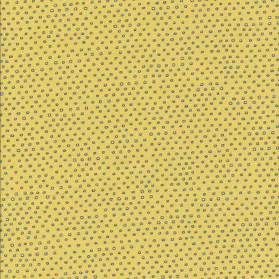 Gele stof met witte stippen zwart omrand