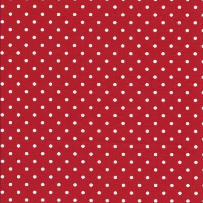 Rode stof met witte stippen