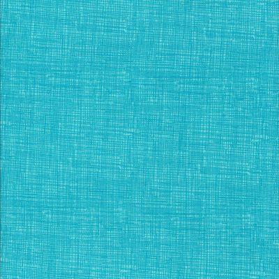 Turquoise stof met weefmotief